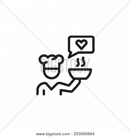Chef Loving Cooking Line Icon. Like, Recipe, Bowl. Dish Presentation Concept. Vector Illustration Ca