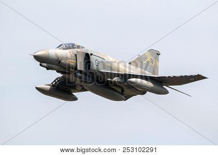 Florennes, Belgium - Jun 15, 2017: Greek Air Force F-4 Phantom Fighter Jet Flyby Over Florennes Airb