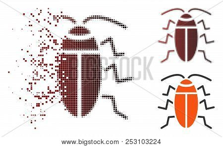 Vector Cockroach Icon In Dissolved, Dotted Halftone And Undamaged Entire Variants. Disappearing Effe