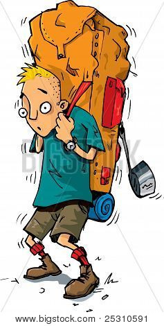Cartoon Of A Hiker With An Extremely Heavy Backpack