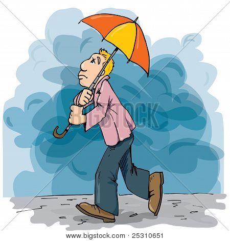 Cartoon Of A Man Walking In The Rain With An Umbrella