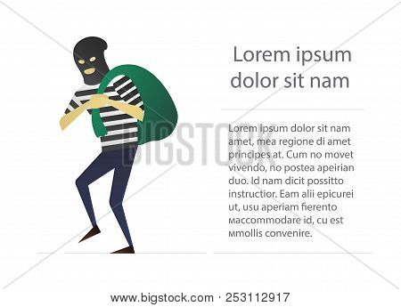 Robber Flat Character Design. Housebreaker. Thief With Huge Bag On His Back. Vector Isolated Illustr