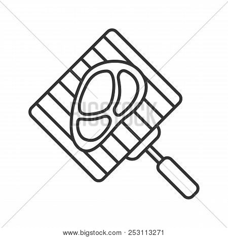 Hand Grill With Steak Linear Icon. Thin Line Illustration. Barbecue Grid With Beefsteak. Contour Sym
