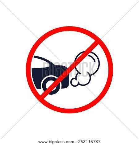 No Exhaust Gases From The Car Forbidden Road Sign, Vector Illustration.