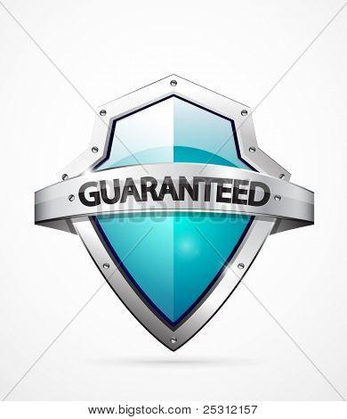 Vector guaranteed shield icon. Blue color