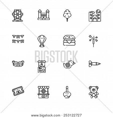Amusement Park. Set Outline Icon Eps 10 Vector Format. Professional Pixel Perfect Black, White Icons
