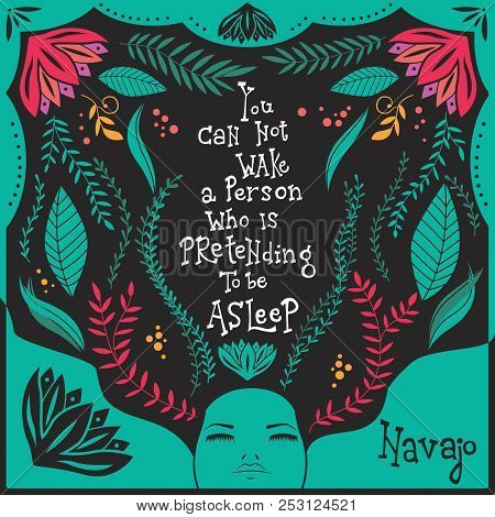 You Can Not Wake A Person Who Is Pretending To Be Asleep Inspirational Quote, Handlettering Design W