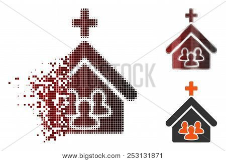 Vector Church People Icon In Dispersed, Pixelated Halftone And Undamaged Entire Variants. Disappeari