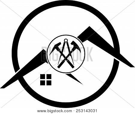 Roofing Tools And Roofs, Roofing Sticker Label