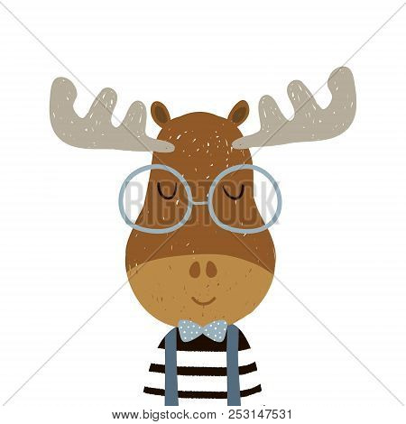Cute Cartoon Elk Boy Character. Childish Print For Nursery, Kids Apparel,poster, Postcard. Vector Il