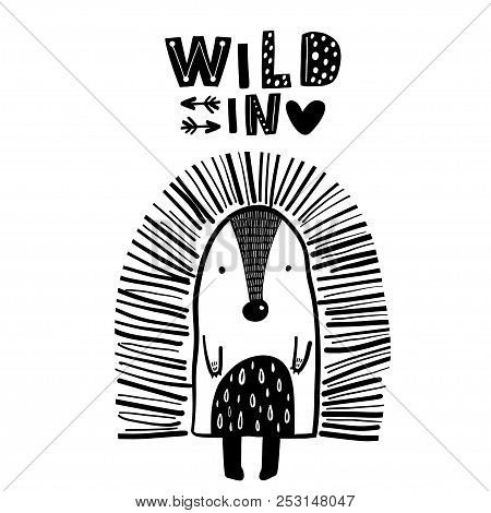 Cute Hand Drawn Porcupine In Black And White Style. Cartoon Vector Illustration In Scandinavian Styl