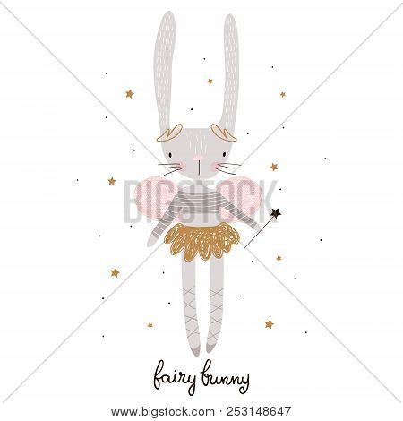 Cute Cartoon Bunny Fairy. Rabbit Bellerina With Wings Childish Print For Nursery, Kids Apparel,poste