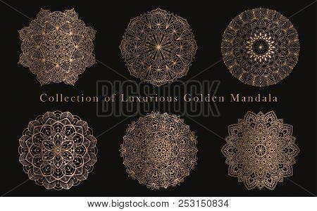 Mandala Vector Round Ornaments Luxury Design Set. Golden Decorative Graphic Elements On Black Backgr