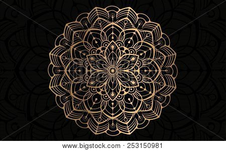 Eid Al Adha Celebration Greeting Card Design With Calligraphy And Mandala. Gold And Black Luxury Sty