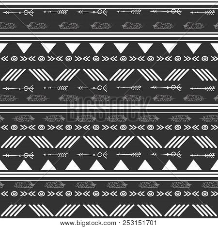 Tribal Black And White Seamless Repeat Pattern. Great For Folk Modern Wallpaper, Backgrounds, Invita
