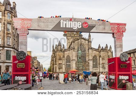 Edinburgh, Scotland  - August 7: Attendees Flood The Streets At The Edinburgh Fringe Festival. Augus
