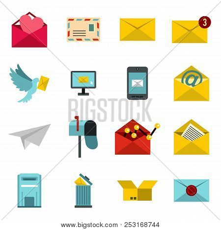 Flat Email Icons Set. Universal Email Icons To Use For Web And Mobile Ui, Set Of Basic Email Element