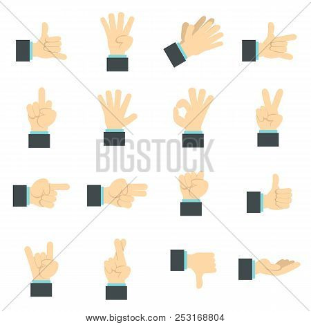Flat Hand Icons Set. Universal Hand Icons To Use For Web And Mobile Ui, Set Of Basic Hand Elements I