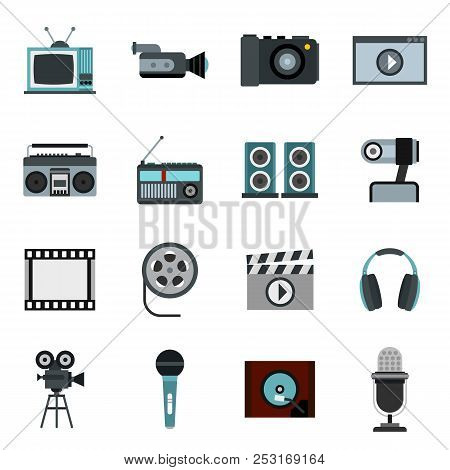 Flat Video Icons Set. Universal Video Icons To Use For Web And Mobile Ui, Set Of Basic Video Element