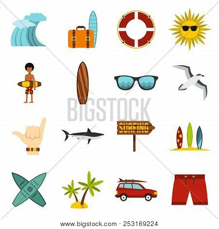 Flat Surfing Icons Set. Universal Surfing Icons To Use For Web And Mobile Ui, Set Of Basic Surfing E