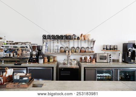 Modern coffee shop interior, no people