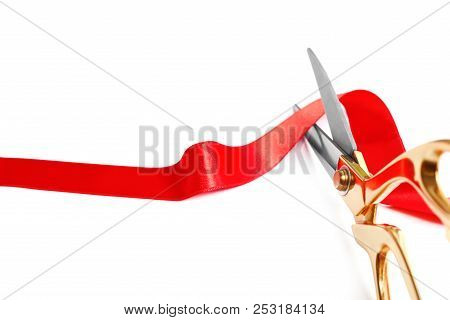 Ribbon And Scissors On White Background. Ceremonial Red Tape Cutting