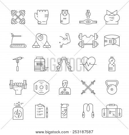 Collection Of Vector Line Style Icons Of Weightloss, Active Lifestyle And Gym Training. Gym And Fitn