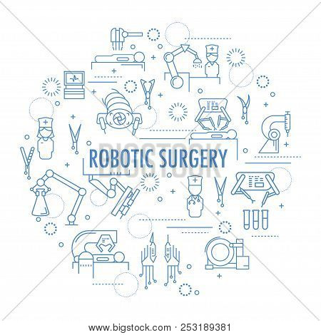 Robotic Surgery Banner In Linear Style. Robotic Assisted Surgery Future Linear Template Design. Vect