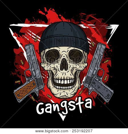 Skull Vector Illustration Of Human With Black Hat And Two Pistols Cartoon