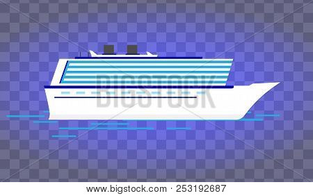 Summer Travel Cruise Ship.sea Cruise Ship Isolated On Blue. Illustration Of Vacation And Cruise.