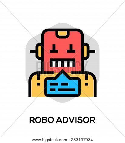 Robo Advisor Vector Flat Line Icon. Vector Concept For Web Graphics.