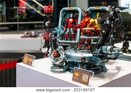 Bangkok, Thailand - August 11, 2018. - Ironman Model Display At The Marvel Experience Superstore In