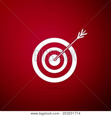 Target With Arrow Icon Isolated On Red Background. Dart Board Sign. Archery Board Icon. Dartboard Si