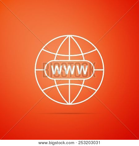 Go To Web Icon Isolated On Orange Background. Www Icon. Website Pictogram. World Wide Web Symbol. In