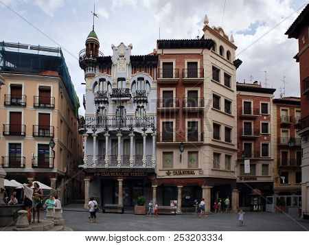Teruel, Spain - July 21, 2018: Casa El Torico Building Located In The Main Square, Plaza Carlos Cast