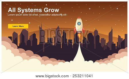 Simple Rocket Icon, Responsive Web Design Flat Vector, Web Design Technology, Including Laptop, Desk