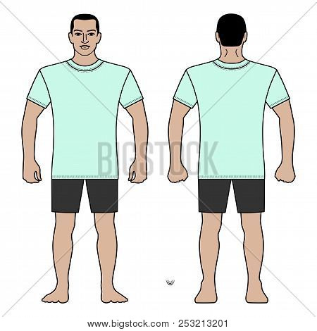 Fashion Man Body Full Length Template Figure Silhouette In Shorts And T Shirt (front, Back Views), V