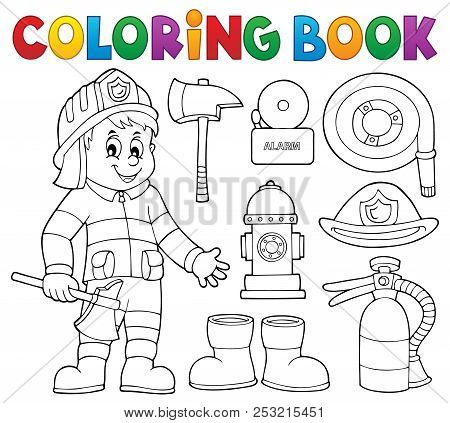Coloring Book Firefighter Theme Set 2 - Eps10 Vector Picture Illustration.