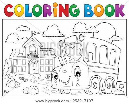 Coloring Book School Bus Theme 6 - Eps10 Vector Picture Illustration.