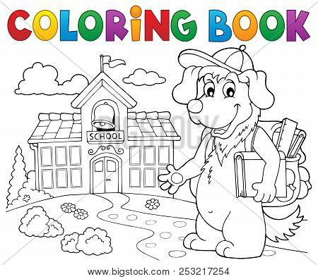Coloring Book School Dog Theme 2 - Eps10 Vector Picture Illustration.