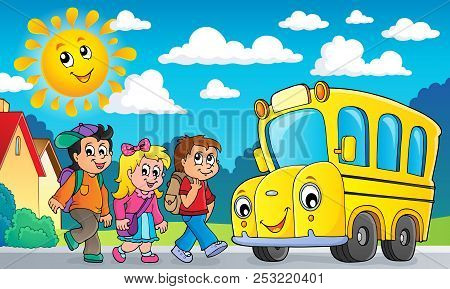 Children By School Bus Theme Image 2 - Eps10 Vector Picture Illustration.
