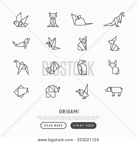 Origami Thin Line Icons Set: Penguin, Camel, Fox, Bear, Sparrow, Fish, Mouse, Bird, Elephant, Kangar