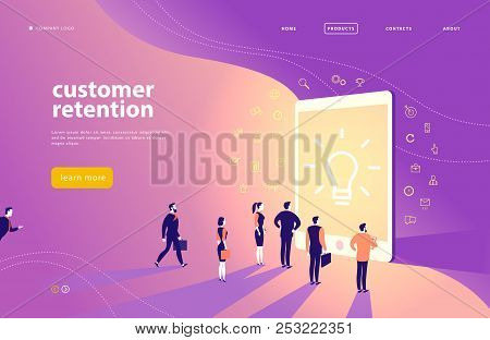 Vector Web Page Concept Design With Customer Retention Theme - Office People Stand At Big Digital Ta