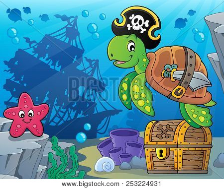 Pirate Turtle Theme Image 5 - Eps10 Vector Picture Illustration.
