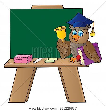 Schoolboard With Owl Teacher - Eps10 Vector Picture Illustration.