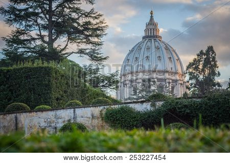 View Of The Dome Of St. Peter`s Basilica From The Vatican Gardens, Rome, Italy