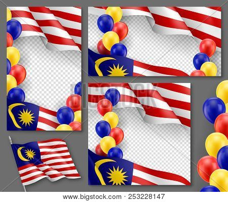 Malaysian Patriotic Festive Banners With Transparent Copy Space. Realistic Waving Malaysian Flag And
