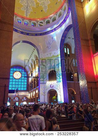 March 24, 2018, Aparecida, São Paulo, Brazil, Catholic Pilgrims Praying Inside The Basilica Of Our L