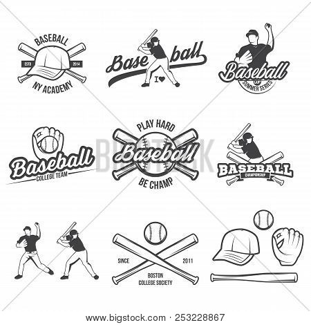Collection Of Vector Illustrations Of Baseball Team Competition Logos And Insignias In Grunge Vintag