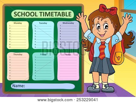 Weekly School Timetable Design 7 - Eps10 Vector Picture Illustration.